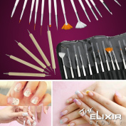 Nail Art Kit with Free Nail Stamp Plate Kit , 20 Nail Art Brush Set with Nail Plate Set, Dotting Pens Marbling Detailing Painting Tools 20pc Kit set with Pouch