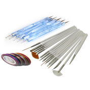 15Pcs Nail Art Design Painting Drawing Brushes White + 5 X 2 Way Marbleizing Dotting Pen Tools + 10Pcs Mixed Colours Rolls Striping Tape Line Nail Art Tips Decoration Sticker