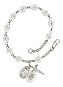 Silver Plate Rosary Bracelet features 6mm Crystal Fire Polished beads. The Crucifix measures 5/8 x 1/4. The charm features a Miraculous medal.