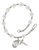 Silver Plate Rosary Bracelet features 6mm Crystal Fire Polished beads. The Crucifix measures 5/8 x 1/4. The charm features a St. Margaret Mary Alacoque medal.