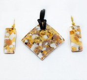 Orange, White and Gold Murano Necklace and Earrings Set