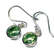 Sitara Collections SC10411 Faceted Green Amethyst Sterling Silver Earrings