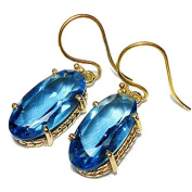 Sitara Collections SC10325 Gold-Plated Brass Hydro Quartz Earrings, Dark Blue