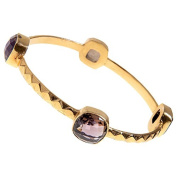 Sitara Collections SC10355 Gold-Plated Brass Faceted Smoky Quartz Bezel Bangle Bracelet