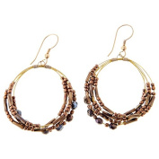 Sitara Collections SC5544 Amal Brass & Glass Beaded Hoop Earrings