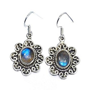 Sitara Collections SC10427 Faceted Labradorite Flower Sterling Silver Earrings