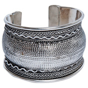 Sitara Collections SC9084 Silver-Plated Kuchi Tribal Braided Curved Cuff Bracelet