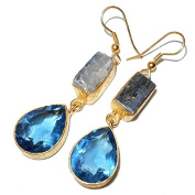 Sitara Collections SC10306 Kyanite & Blue Gold-Plated Hydro Glass Earrings