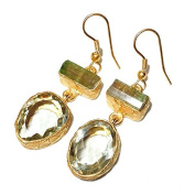 Sitara Collections SC10308 Gold-Plated Green Amethyst & Tourmaline Earrings