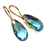 Sitara Collections SC10309 Gold-Plated Hydro Quartz Earrings, Blue
