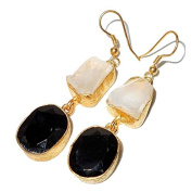 Sitara Collections SC10313 Crystal and Black Onyx Gold-Plated Rough Gemstone Earrings