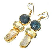 Sitara Collections SC10316 Three-Stone Labradorite and Fluorite Gold-Plated Rough Gemstone Earrings
