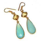 Sitara Collections SC10318 Gold-Plated Hydro Glass Earrings, Aqua