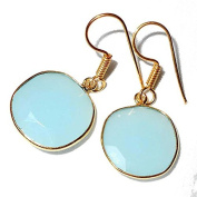 Sitara Collections SC10323 Gold-Plated Aqua Chalcedony Hydro Quartz Earrings