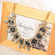 Loolis New Arrival Fashion Lady Multi black mixed silver crystal bib statement necklace collar