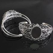 5pcs Retro Fit 25x18mm Oval Cameo Setting Silver Tone Bangle Bracelet