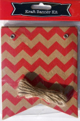 Decorative Red Chevron Paper Mini Banner Kit