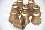 10 Hand Made Golden Cowbells Cow Bell Noisemaker , Iron Sheet Metal Cowbells with Clapper , Antique Golden Finish ,Unique Home Accents , Craft Christmas Wedding (Set of 10) Wholesale Cow Bells