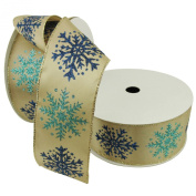 Christmas Premium Wired Ribbon,teal and Navy Glitter Snowflakes on Taupe Satin 6.4cm