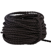 Navifoce 0.3mm 20 Metres Round Folded Bolo Braided Genuine Leather Cords for Necklace Bracelet Jewellery Making