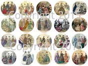 Assorted Vintage Fashions from the Godey's Ladies Book 4.4cm Circles Collage Sheet