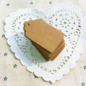 Xiaoqing 100 Pack Kraft Paper Hang Favour Punch Label Gift Tags 5.1cm x 3cm