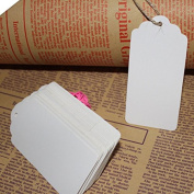 Xiaoqing 100pcs 1.8*9.4cm Kraft Paper Gift Tags Wedding Scallop Label Blank Luggage Tag