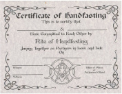 Handfasting Certificate, Certificate of Handfasting, Marriage, Pagan Ceremony, Hand Fasting, Wicca, Witchcraft