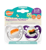 Ulubulu Pacifiers for Girls, Sushi and Sashimi, 6-18 Months