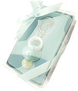 Firefly Imports Baby Shower Party Favour Baby Pacifier Key Chain, Light Blue