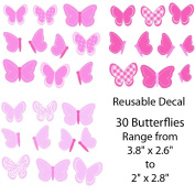 Pink Butterfly Decals for Baby Nursery, 30 Butterflies
