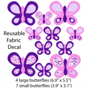 Purple and Pink Butterfly Wall Decals for Baby Nursery, Large Butterflies