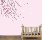 Flower Wall Decals, Tree Branch Stickers, Girls Pink Flower Decal