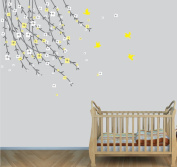 Tree Branch Wall Decals, Nursery Tree Stickers, Yellow Wall Décor