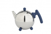 bredemeijer Bella Ronde Double Walled Teapot, 0.75 Litre, Stainless Steel Glossy Finish with Blue Accents
