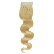 """Crazy Queen Brazilian Remy Bleached Knots 10cm x 10cm 613# Blonde Body Wave Virgin Hair Lace Closure14"""""""