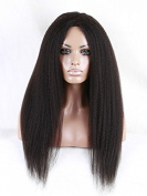 Doubleleafwig Afro Kinky Straight Brazilian Human Hair Glueless Lace Front Wig Natural Black 1B