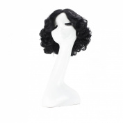 Anogol® Free Hair Cap + Women's Curly Natural Part Daily Hairstyle Cosplay Wig Black Short DM-452