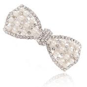 Beyend White Women's Fashion Pearl Bow tie Hair Clip Head Wear BE-25