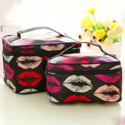Shacos Fashionable Portable Cosmetic Toiletry Bags Polyester Fibre Makeup Brush Bags with Mirror 2pcs a Set