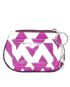 Chevron Zippered ID and Coin Pouch Purse - Faux Leather with Key Ring