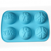 X-Haibei Love Peace Sign Soap Deco Mini Cake Round Dome Silicone Mould 6-Cavity