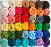 36 Colours Merino Wool Fibre Roving For Needle Felting Hand Spinning DIY Fun Doll Needlework Raw Wool Felt poke 5g/bag