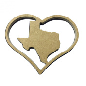 23cm State of Texas Insert for Home Heart Sign Unfinished DIY Wooden Craft Cutout to Sell Stacked