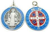 St Benedict Medal Blue & Red Enamel on Metal 4.4cm Medallion