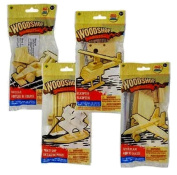 Build and Play Wooden Vehicle Kits, Pirate Ship, Fighter Plane, Racecar and Helicopter, 4-pk Set