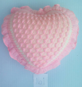 Handmade Heart-shaped Pink Crochet Pillow By Product of Thailand