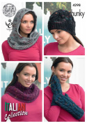 King Cole Ladies Knitting Pattern Womens Accessories Cowls Hat Mittens Florence Chunky
