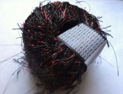 Muench New Maribu 4204 Black with Red Metallic Long Eyelash Yarn 20 Grammes