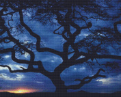 Nature's Finest No. 36 Cross Stitch Pattern Tree Silhouette against Evening Sky Cross Stitch Pattern only